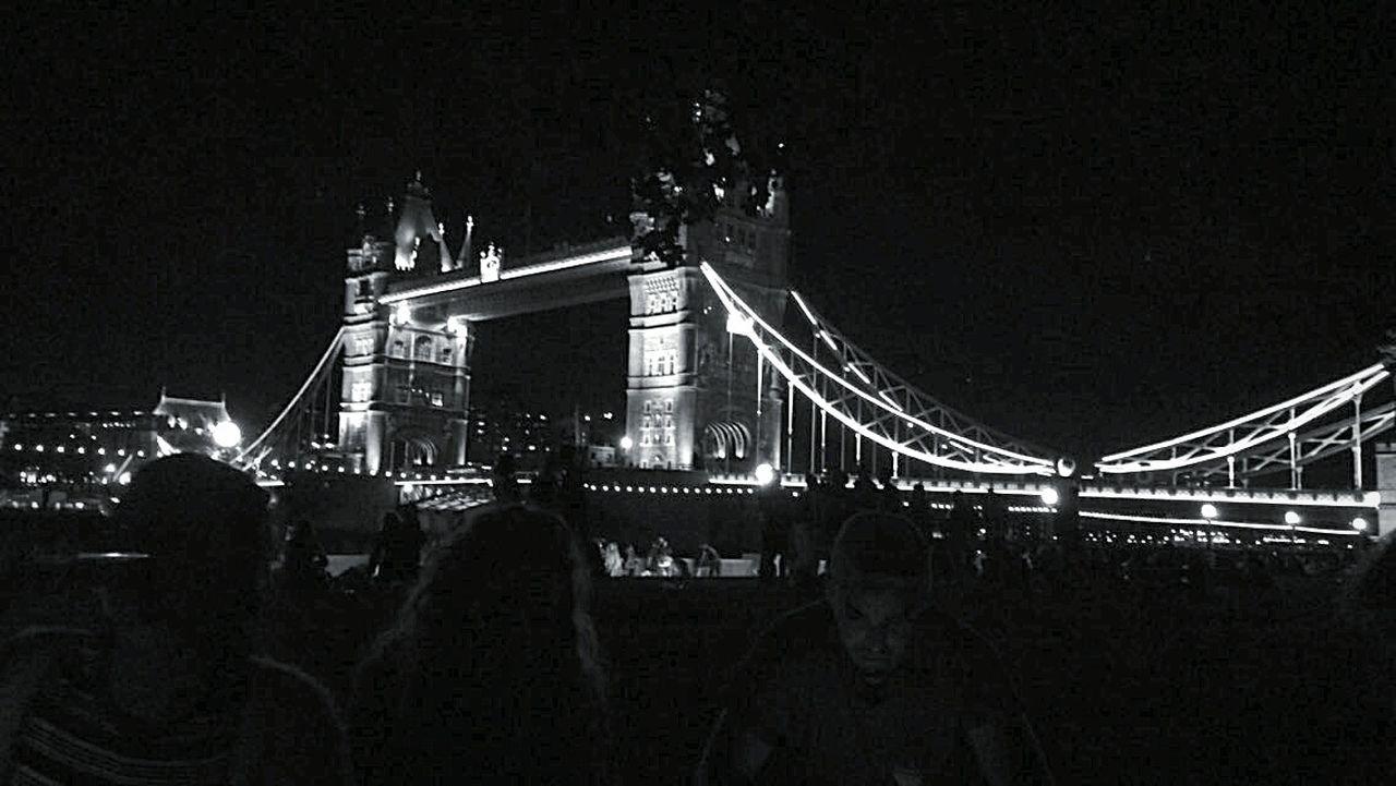 Monochrome Photography London Bridge Built Structure Night Architecture Illuminated Bridge - Man Made Structure Connection Engineering Suspension Bridge Sky Famous Place Building Exterior City Outdoors Bridge Dark Tourism City Life International Landmark
