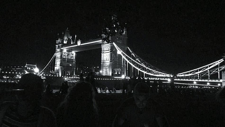 Monochrome Photography London Bridge Built Structure Night Architecture Illuminated Bridge - Man Made Structure Connection Engineering Suspension Bridge Sky Famous Place Building Exterior City Outdoors Bridge Dark Tourism City Life International Landmark