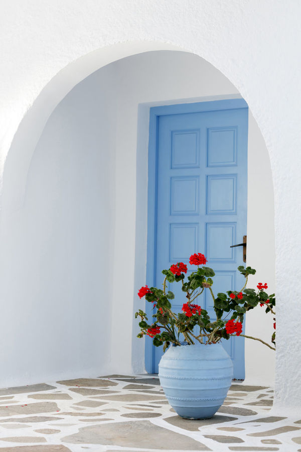 Home exterior with blue door and flowers in Greece Arch Architectural Features Architecture Blue Day Decorative Urn Doorway Europe Flower Flower Pot Front Door View Greece Greek Culture Nature No People Outdoors Pot Santorini, Greece Simplicity Vase Window