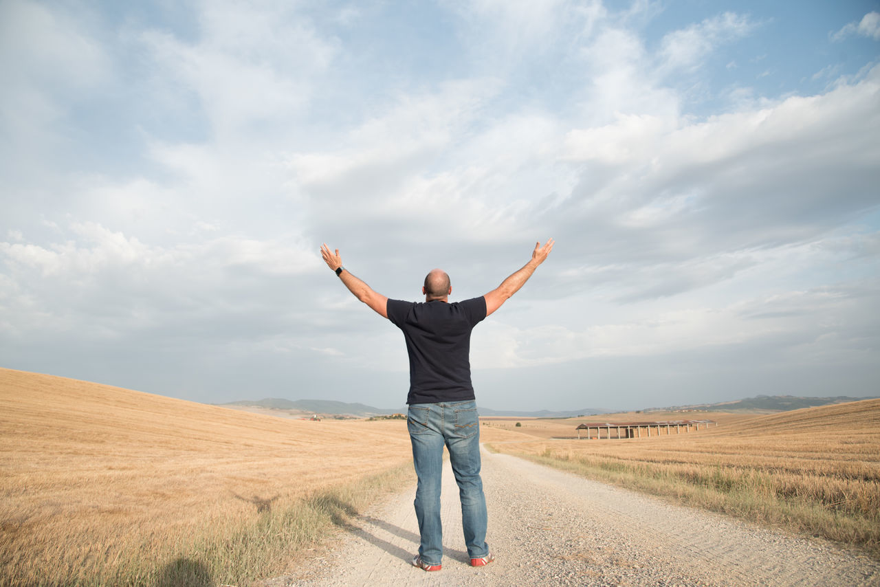 Beautiful stock photos of spaß, sky, only men, one person, one man only