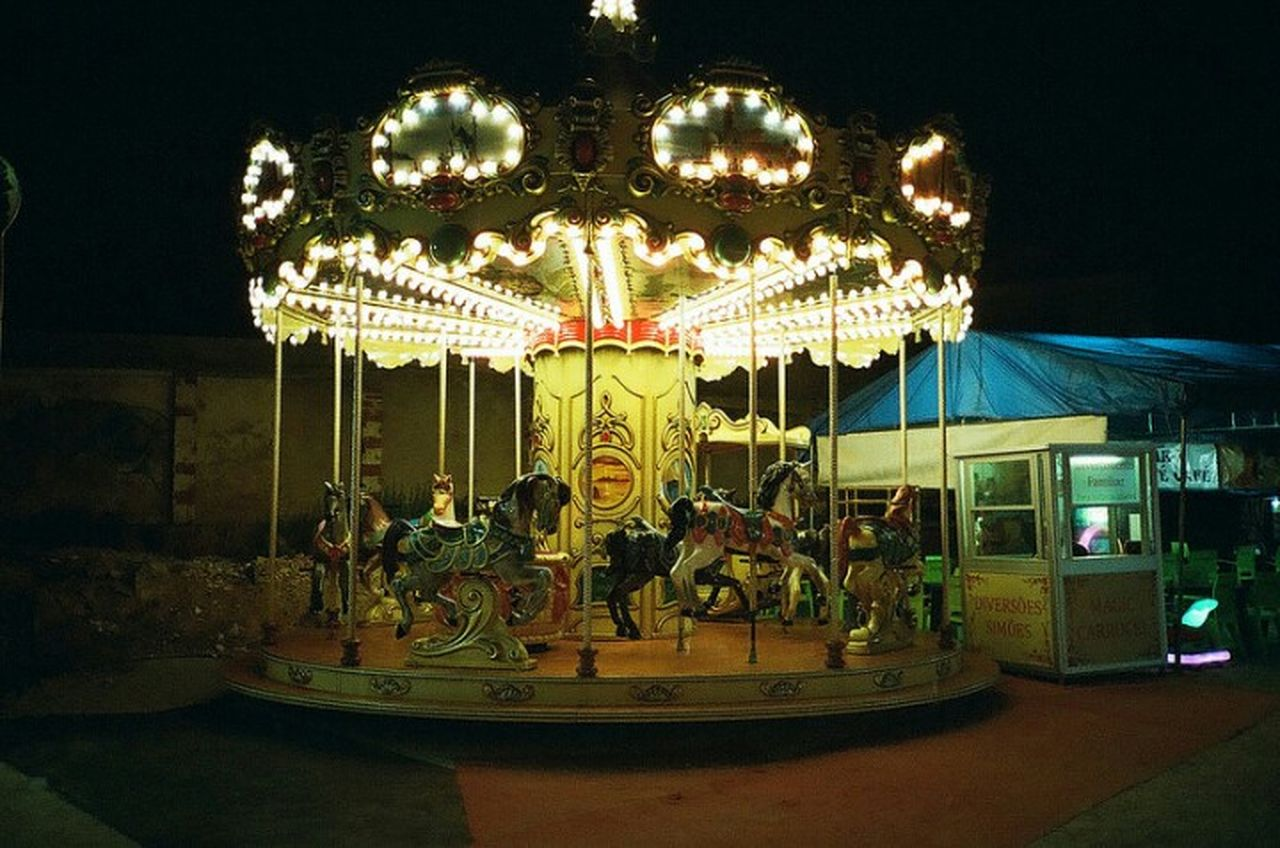 Lonely merrygoaround Amusement Park Illuminated Carousel No People Amusement Park Ride Night Olympus XA 35mm Film Filmisnotdead Filmography Film135 Analogue Photography Analog Shootfilmnotmegapixels Buyfilmnotmegapixels Olympusxa Lomography800 Filmphotography