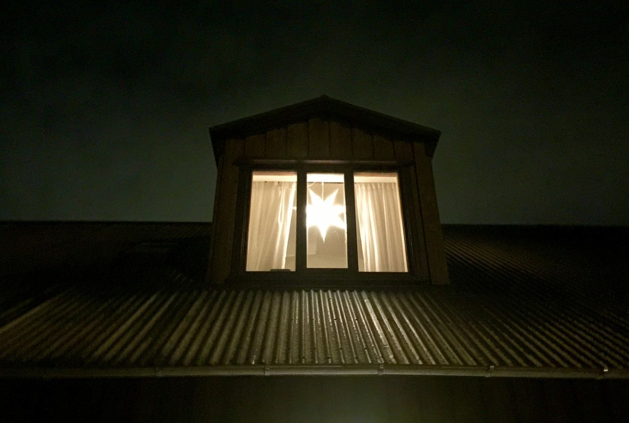 Reykjavik Wooden House Christmas Lights Night View Corrugated Roofing Sheets Starlight
