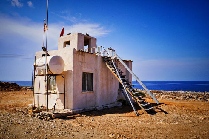 Outpost Architecture Blue Building Exterior Built Structure Day Horizon Over Water Karpaz No People Outdoors Sand Sea Sky Surreal North Cyprus Cyprus