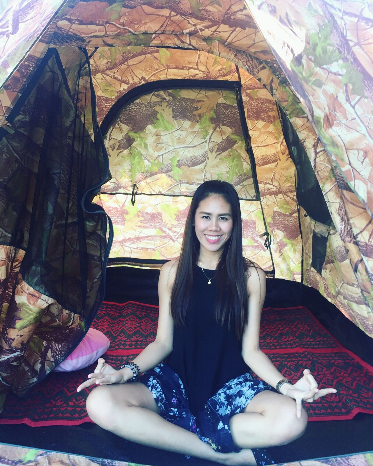 Camping Meditation Tents Happiness Mountains Filipina Long Hair Lifestyles Confidence  Young Women Smiling
