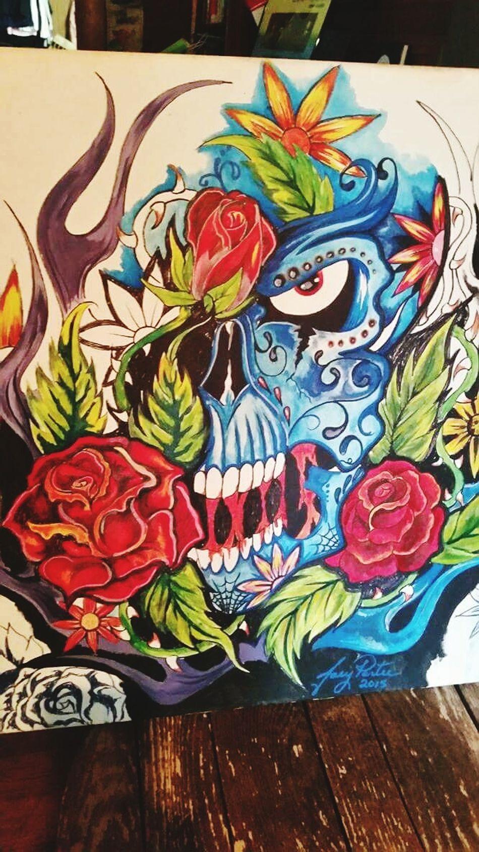 Art Is Everywhere Skullart Skulls Roses Beautifully Dark Bright Colors Painting Art Art And Craft Multi Colored No People