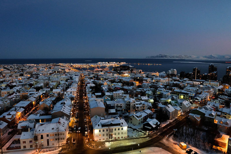 Architecture Building Exterior Built Structure City Cityscape Clear Sky Dusk Evening Harbor High Angle View Horizon Over Water Iceland Illuminated Low Rise No People Outdoors Residential Building Sea Street Light