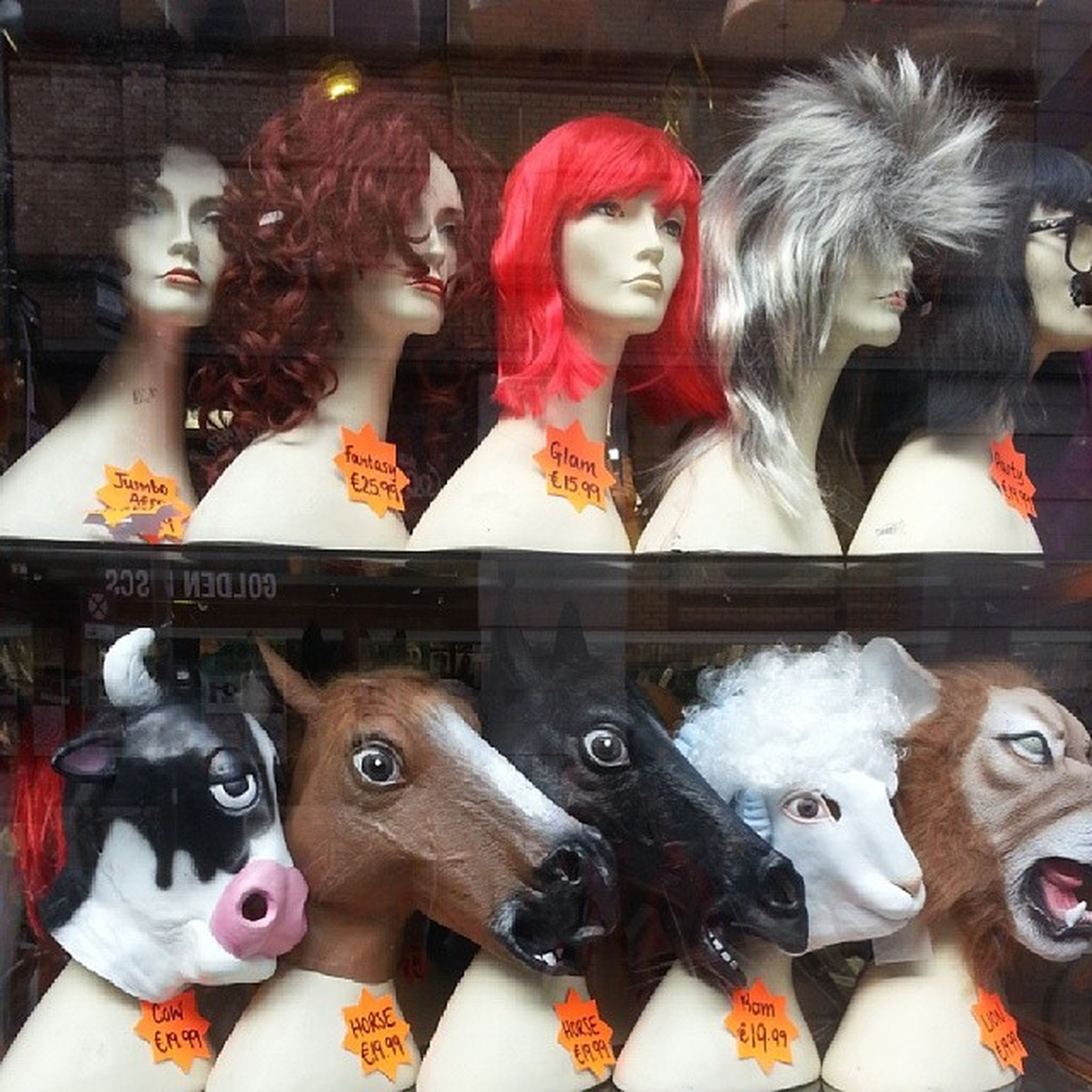 human representation, art, art and craft, creativity, indoors, animal representation, sculpture, statue, figurine, celebration, retail, mannequin, cultures, variation, arts culture and entertainment, store, retail display, mask - disguise