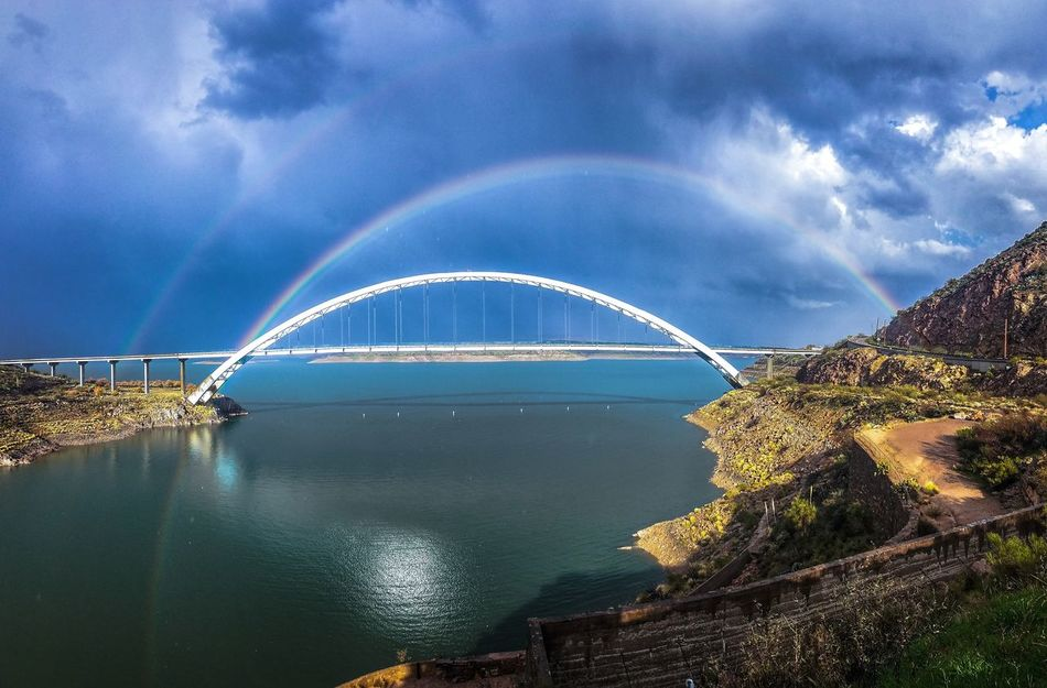 Double Rainbows Over Bridge Storm Cloud Reflection Dramatic Sky Outdoors Scenics Cloud - Sky Beauty In Nature Apache Trail Arizona Landscape Nature Environmental Conservation Travelphotography Nature Bliss Blessingofnature