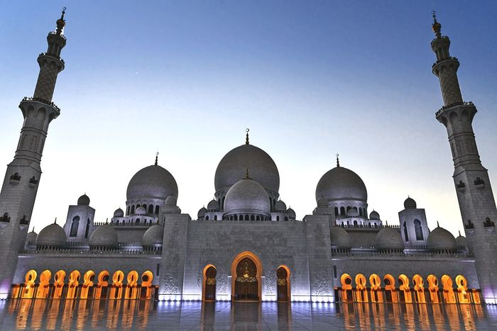 The Grand Mosque Dome Architecture Travel Destinations Built Structure Outdoors Sunset Day Politics And Government No People Water