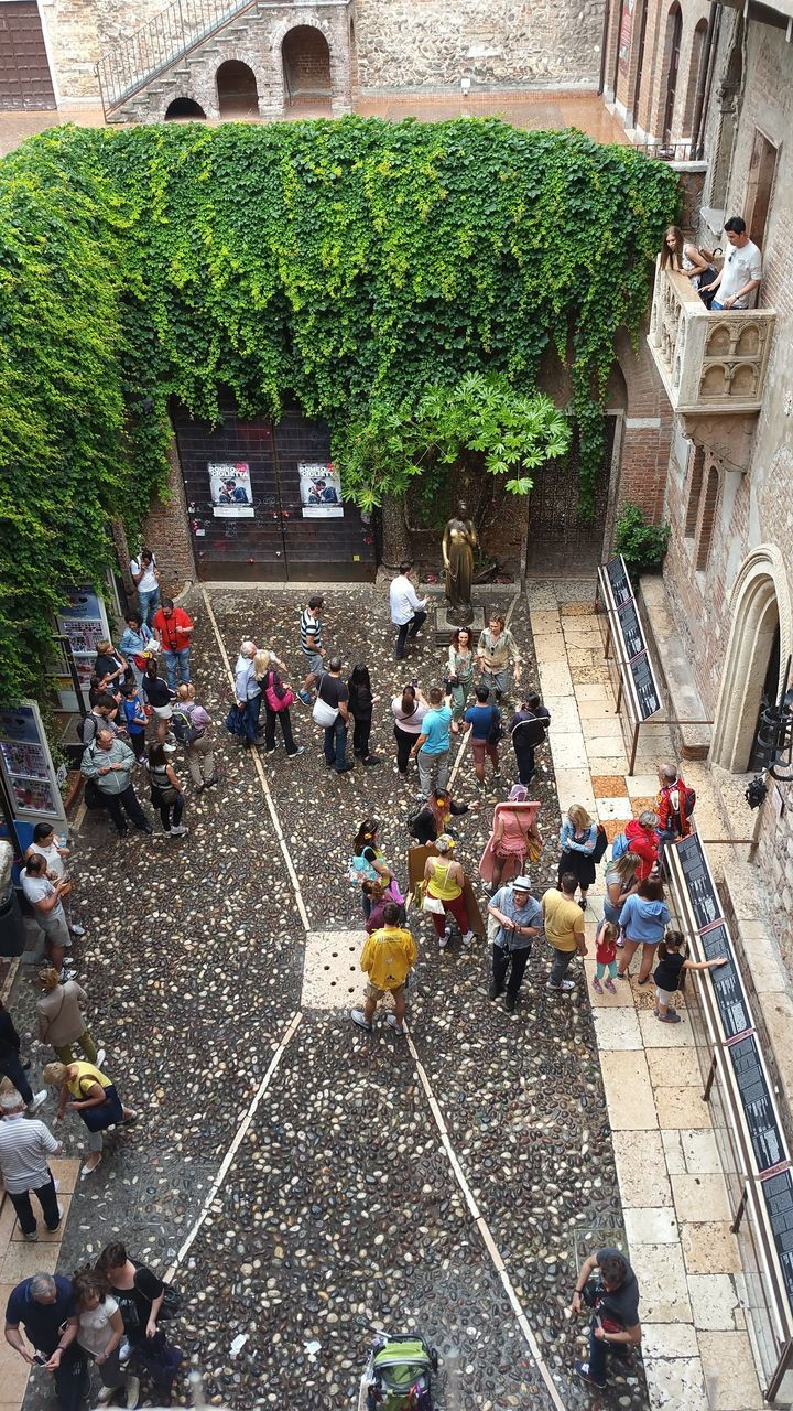 large group of people, high angle view, architecture, real people, built structure, day, building exterior, outdoors, men, lifestyles, tree, women, crowd, people