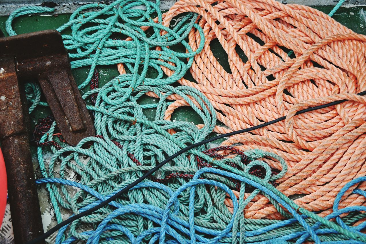 Rope Tall Ship High Angle View Fishing Net No People Close-up Outdoors Day Commercial Dock Netting Fishing Boat Sea Water Ship Fishing Habourside Harbor Ropes Ropes Boats