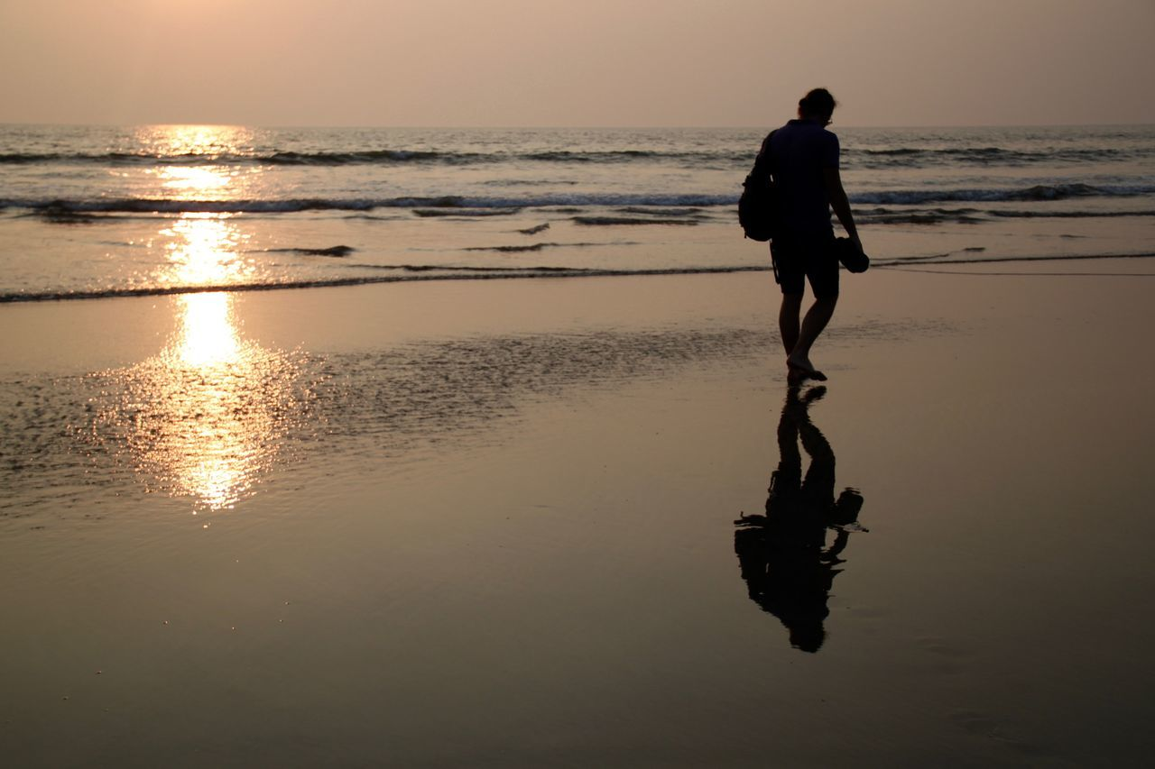 Beach Beach Life Beach Photography Beach Time Beach Walk Beauty In Nature Full Length Goa Horizon Over Water Lifestyles Men Nature North Goa One Man Only One Person Outdoors Reflection Scenics Sea Silhouette Sunset Walking Walkway Water