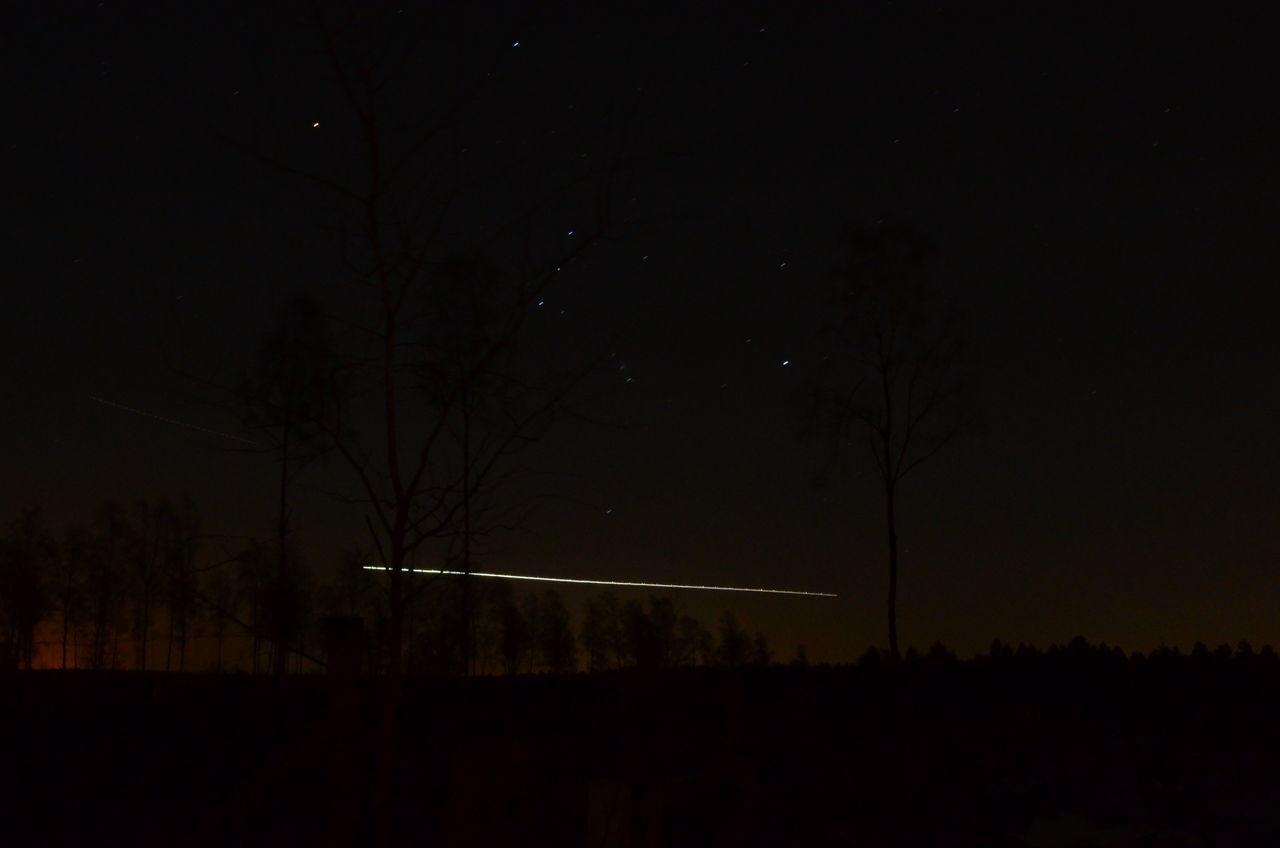 Airplaine Lights Stars At Night Stars Night No People Astronomy Dark Sky Tree Nature Star Field Outdoors Constellation Illuminated