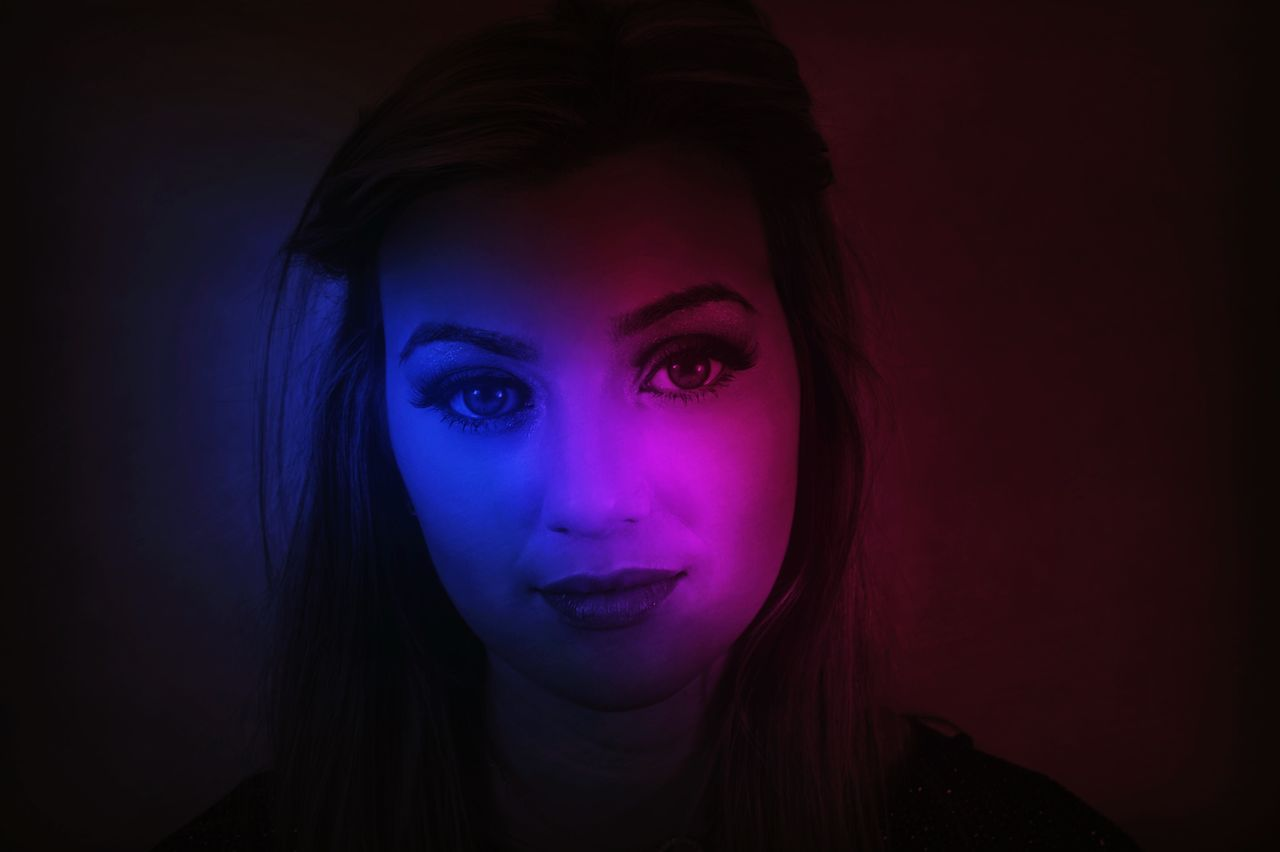 Purple Lady // Sony a6000 // Purple Blue Light Studio Shot Front View Looking At Camera Beautiful Woman Portrait Headshot Make-up Young Women Beauty Close-up Urban Decay Lighting Blue Light Purple Light Sony A6000 This Week On Eyeem United Kingdom Model Women Around The World