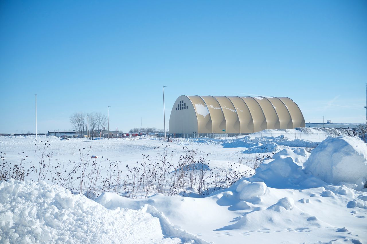 Agriculture Architecture Built Structure Clear Sky Cold Temperature Day Fargo Industry Nature No People North Dakota Outdoors Sky Snow Solar Power Station South Fargo Winter Winter