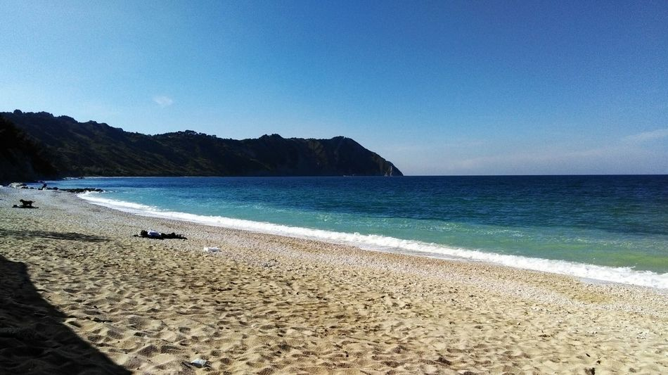 Beach Sea Water Nature Beauty In Nature Scenics Outdoors Blue Sky Vacations Clear Sky Horizon Over Water Wave No Filter High Angle View Lifestyles Beautiful Travel Destinations Portonovo, Italy Portonovo Conero Monteconero Baia Di Portonovo (an) Life Is A Beach Relaxing Moments