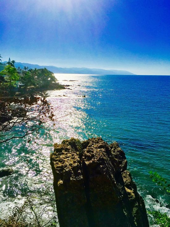 Horizon Large Rocks Beach Scenics Hiking Mexico No People Nature Tree Outdoors Hikingadventures Blue Sky Freshness Shore Sea Horizon Over Water Palm Trees Sunlight