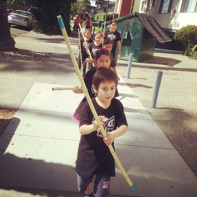 Littleninjas on their way to SJSU to Spartanawareness day doing their demonstration for Chokeoutcancer Andyandgina Chokeout Kids Leaders Dogoodwork Quickdog
