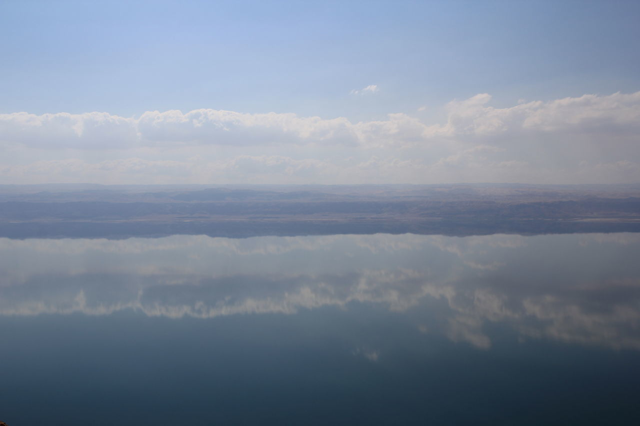 Aerial View Beauty In Nature Blue Cloud - Sky Cloudscape Day Deadsea Jordan Mirror Reflection Nature No People Outdoors Scenics Sea Reflections Sky Sky Only Tranquil Scene Tranquility Water Reflections