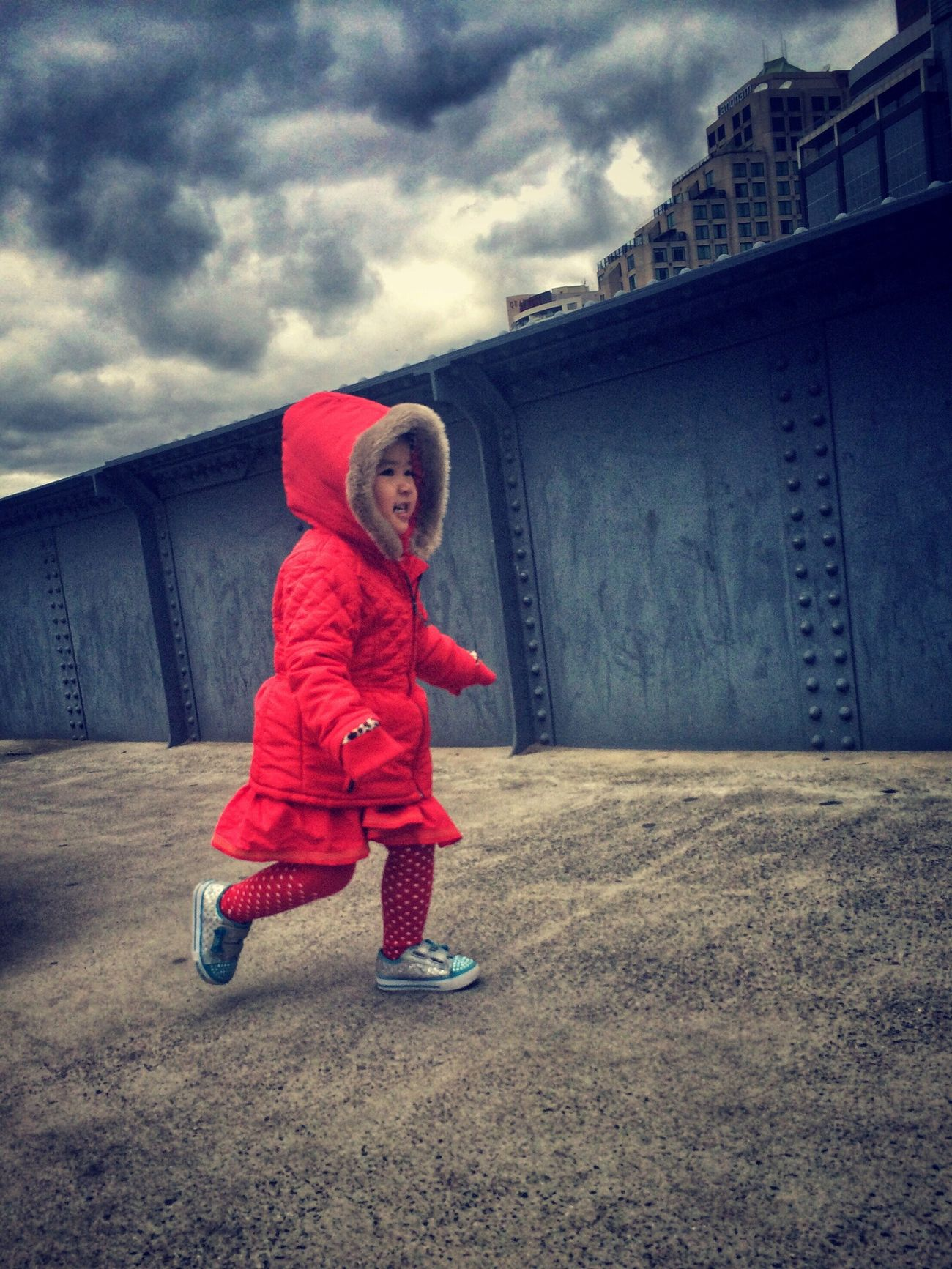 Red Riding Hood // Sandridge Bridge // iP5s RePicture Femininity Street Photography Candid