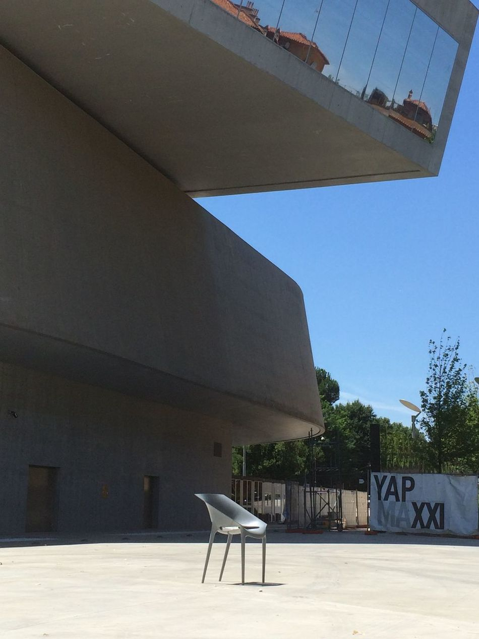 waiting Architecture Blue Sky Building Exterior Built Structure Clear Sky Concrete Concrete Buildings Day Gallery Italy MAXXI Roma Modern Modern Architecture Muse No People Outdoors Single Chair Sky Summer