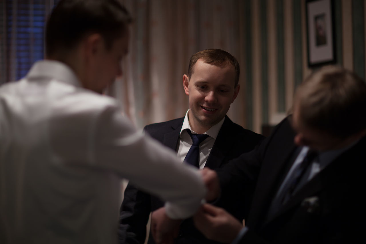 Bridegroom Caucasian Cufflinks Fiance Friend Groom Groomsman Help Man Person Prepare Real People Shirt Wedding Young Men