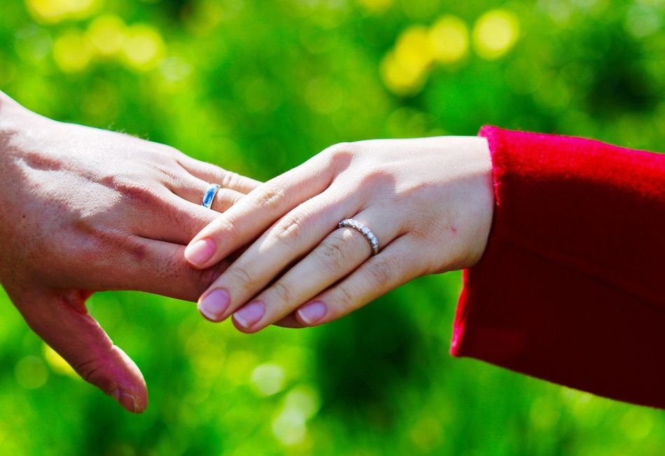 Human Hand Togetherness Wedding Love Wedding Ring Two People Men Celebration Bonding Women Real People Bride Human Body Part Ring Bridegroom Close-up Couple - Relationship Heterosexual Couple Focus On Foreground Holding Hands