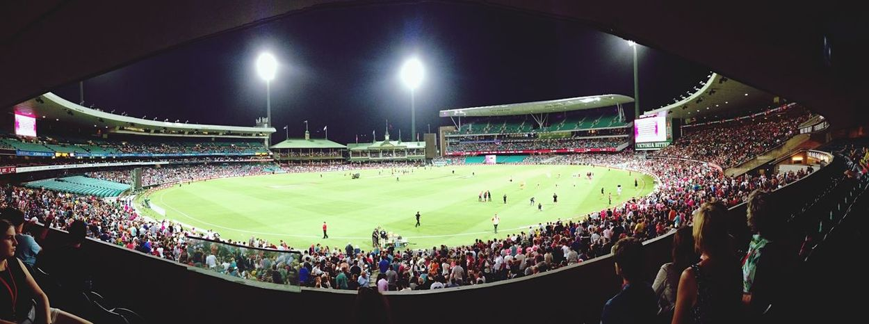 At the cricket! Cricket Hello World Outside Sport Sydney Australia Taking Photos Check This Out Lights Panorama