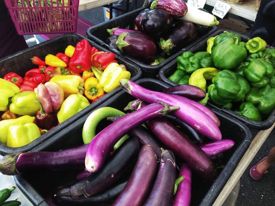 Farm Market Veggie Array Farm Markets Rainbow Green Peppers Eggplant