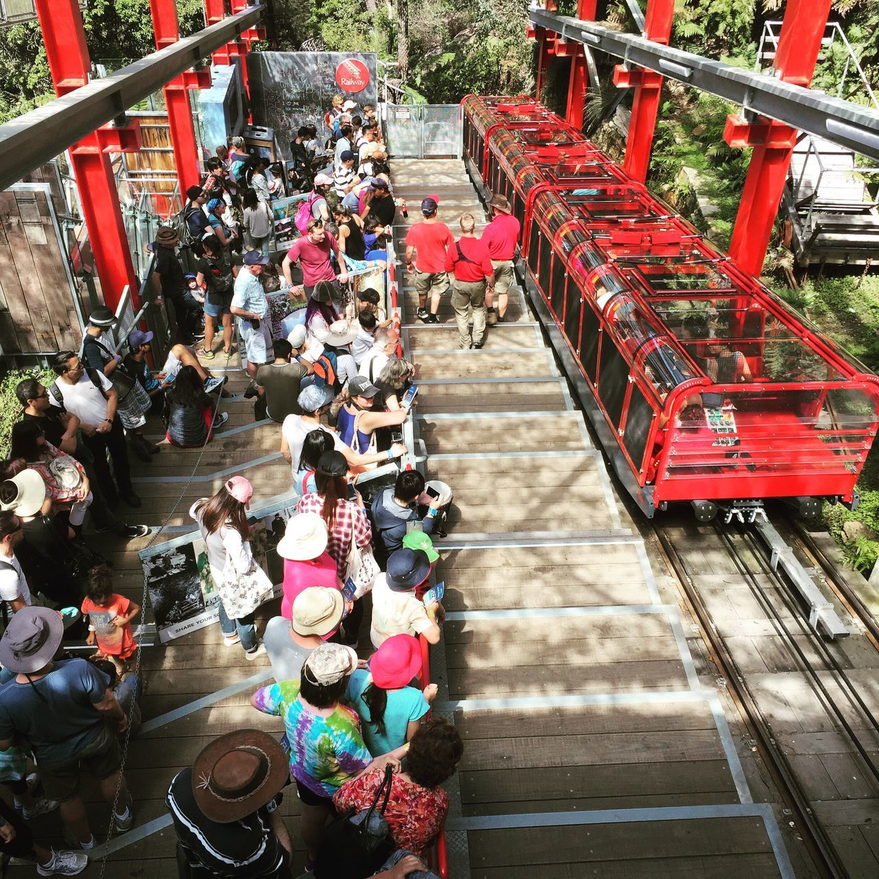 People waiting eagerly for the train ride... Large Group Of People High Angle View Steps Real People Steps And Staircases Architecture Crowd Highvantagepoint Train IPhoneography Iphone6 People Photography Scenictrain