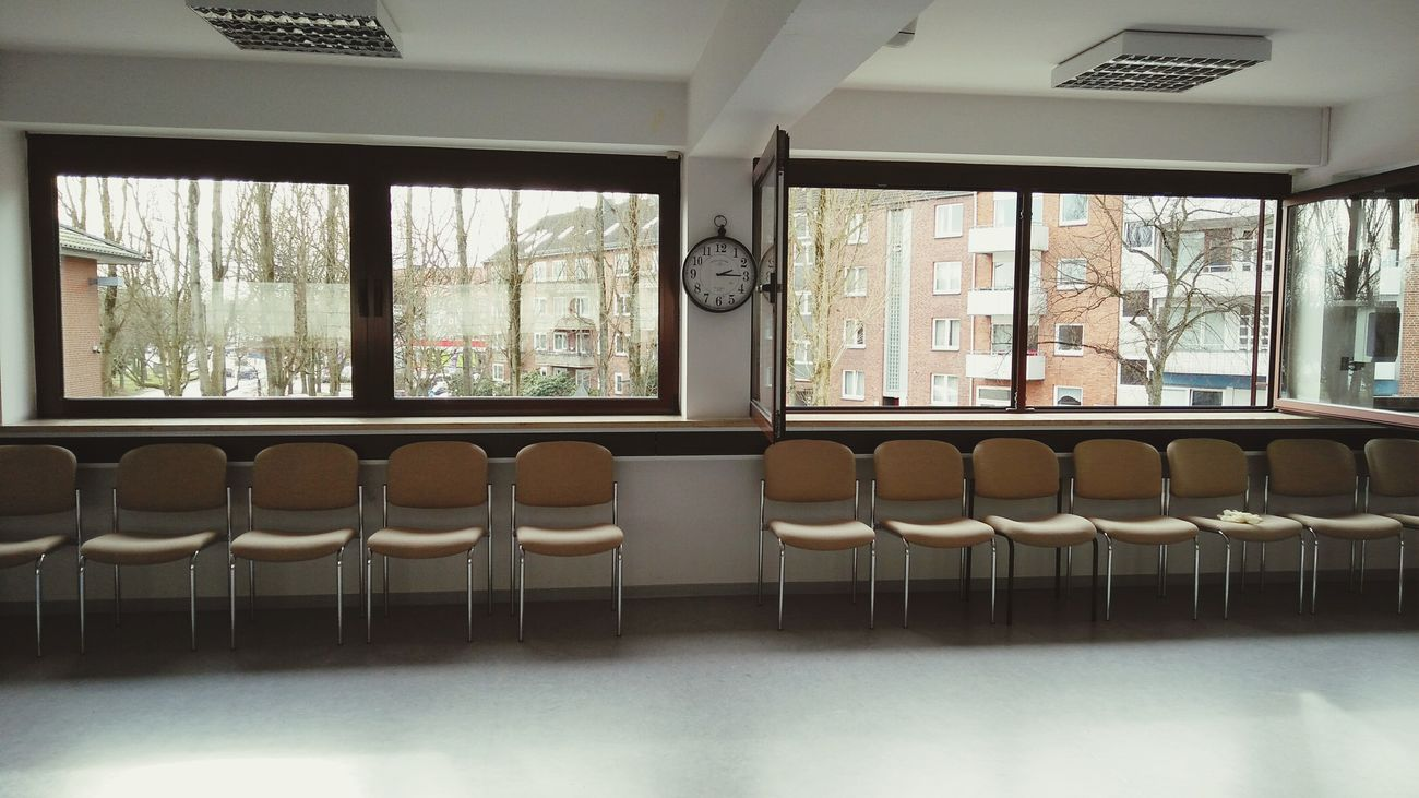 Class Room. · Hamburg Germany 040 Hh Barmbek Drk Training Lesson Learning Chairs Furniture Clock Geometry Simplicity Minimalism Order