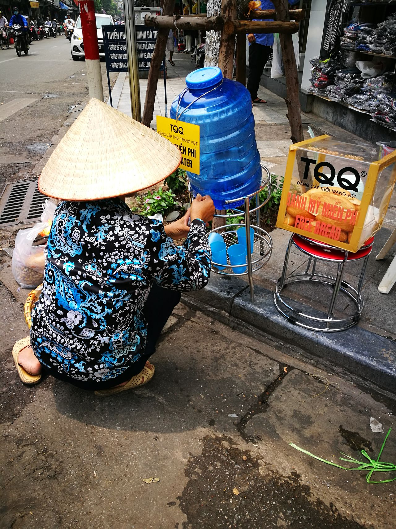 Old Quarter Woman Asian Conical Hat Hanoi Street Non La