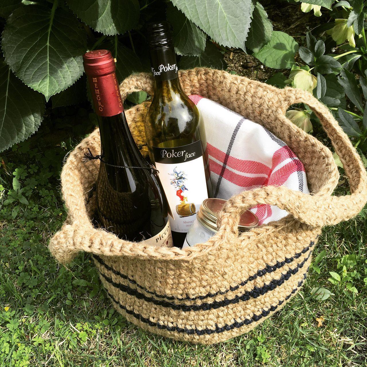 Wine Hemp Hemp Bag Garden Basket Green Picnic Bag
