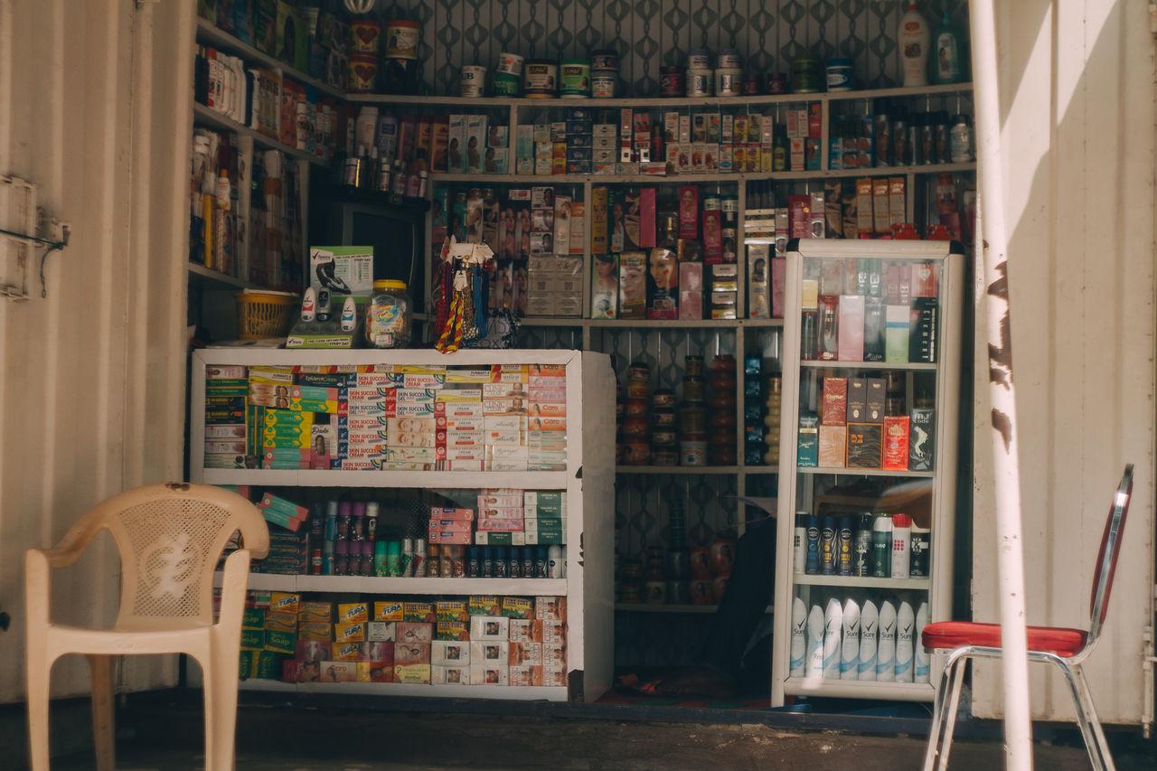 Choice Convenience Store Corner Shoes Hut Indoors  Items For Sale Large Group Of Objects Shop