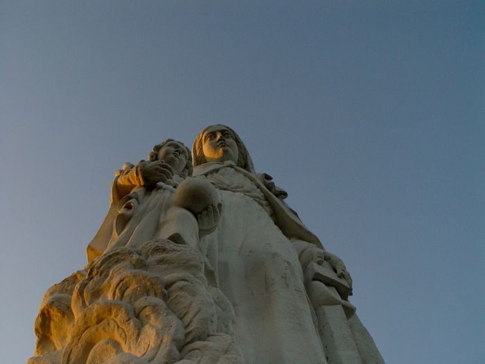 Mont Dol 2007 Beauty Of Nature Blue Sky Bretagne Evening Light France Low Angle View Mary Mont Dol Outdoors Place Of Worship Sculpture Sky