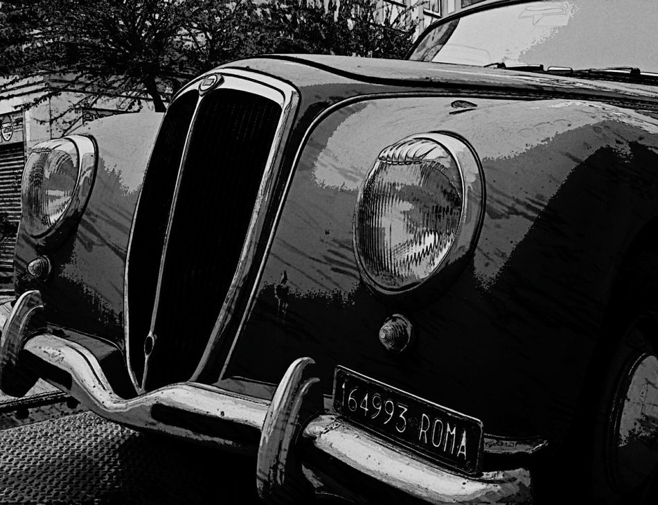 Vintage Old-fashioned Retro Styled Close-up No People Black&white Vintage Cars Vintage Vehicles Vintagecar Lancia Italian Style
