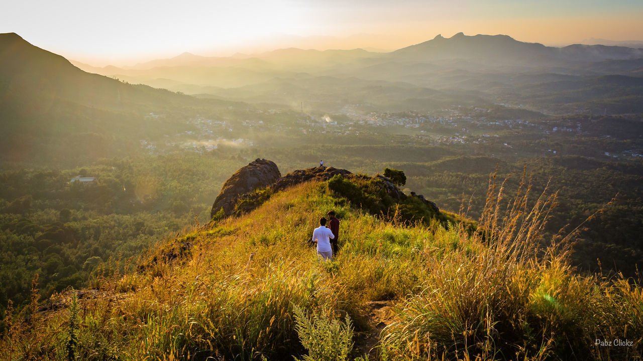 Perfect View Point for Sunset View Point Photography Naturephotography Canonphotography Canon Canon700D Photographer Pabzclickz Gold Colored People Landscape Agriculture Sunset Hiking Men Mountain Sunlight Nature Beauty In Nature Mountain Range