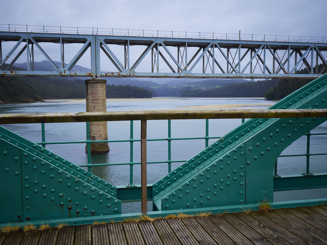 bridge - man made structure, railing, water, day, no people, wood - material, river, outdoors, sky, nature, architecture, close-up