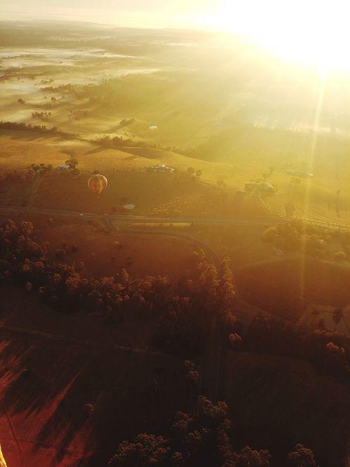 Sun Sunrise Balloon Ballooning Nature Beauty In Nature Morning Sunbeam Sunlight Scenics Fog Sunset Landscape Forest