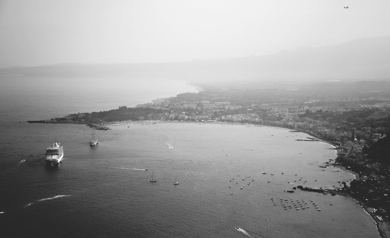 (Black) sea. Sea City Outdoors Nautical Vessel High Angle View Tranquility Travel Destinations Monochrome Photography My Favorite Place Picsartrefugees Miles Away The Great Outdoors - 2017 EyeEm Awards