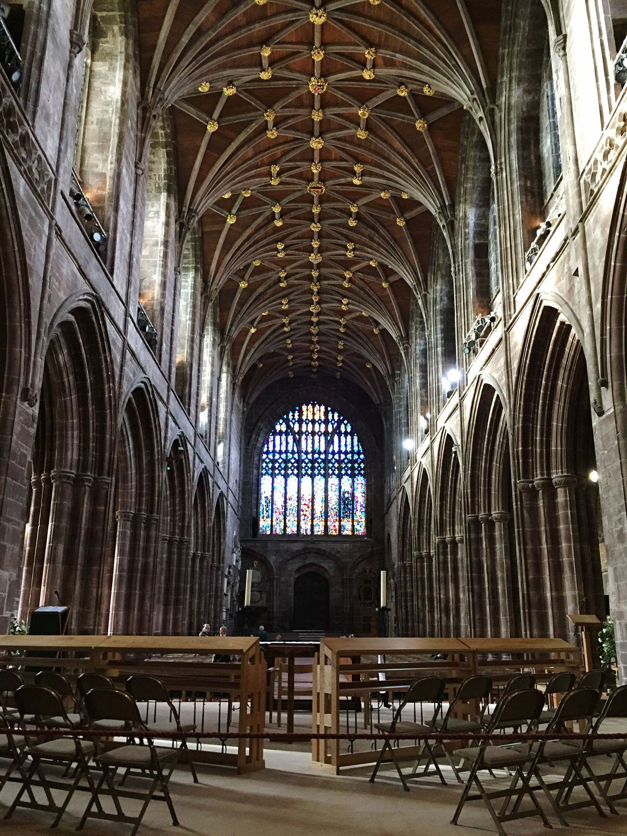 Chester Chester Cathedral Cathedral Cheshire Christianity Place Of Worship Window Arch Indoors  Stained Glass Architecture Pew Medieval
