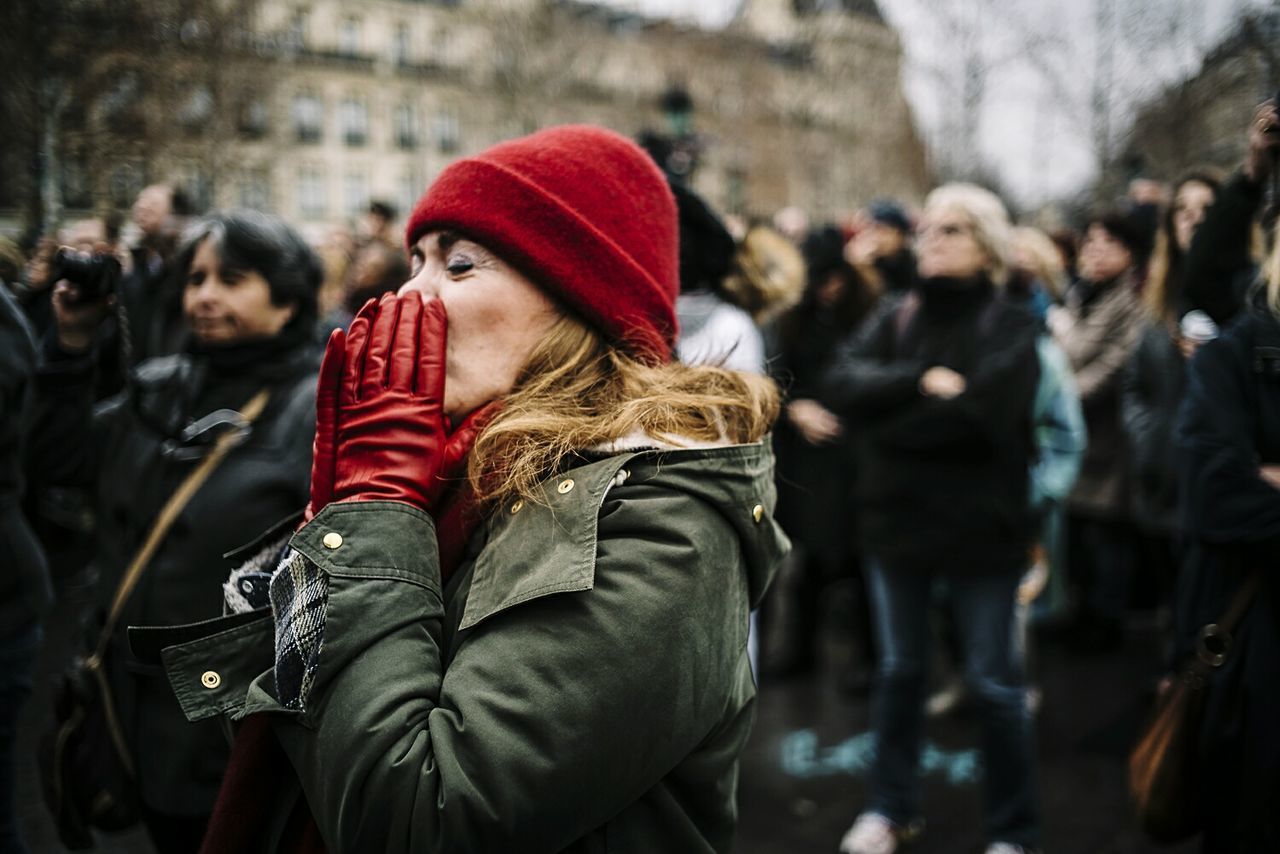 Paris Remembers. Paris Documentary Photography Photojournalism Fresh on Market 2016 EyeEm Masterclass This Week On Eyeem Red Warm Clothing Winter City Tourist Cold Temperature Travel Destinations People Christmas Cultures Adults Only One Woman Only Scarf Adult Holiday - Event One Person Portrait Outdoors