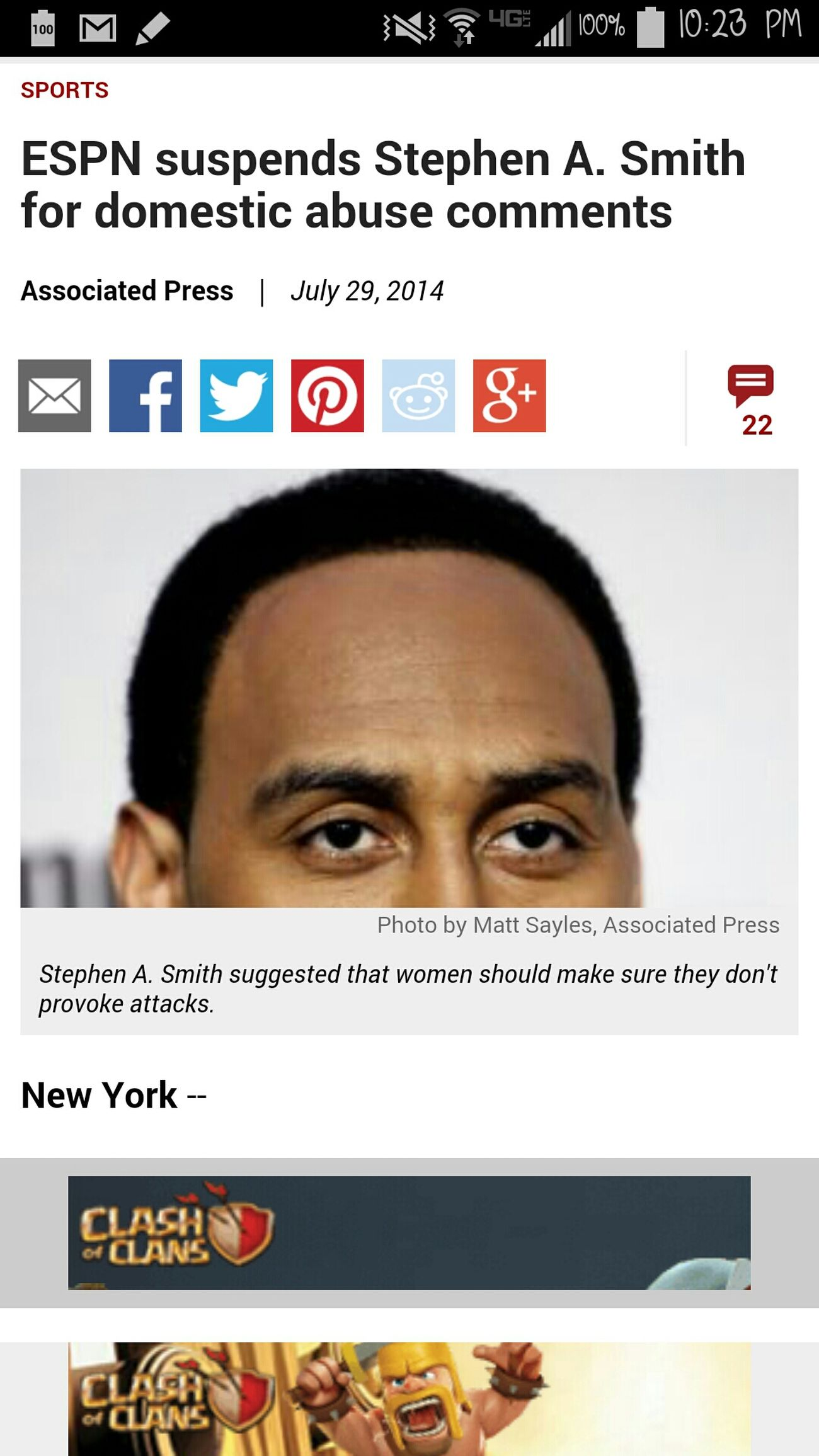 Stephen A. Smith Controversy Beating  ESPN if I was stephen A Smith I would sue you for defamation of character. The man is telling the truth if a woman sit there and deliberately provoke an attack she deserves the repercussions. He wasn't saying all women need to be hit or some kind of different version of that. ESPN acting like this man said he condone women/spouse beating he was just saying women shouldn't provoke an assualt. That's an ass move ESPN I don't really agree with this decision how can you spin his comment any way negative?