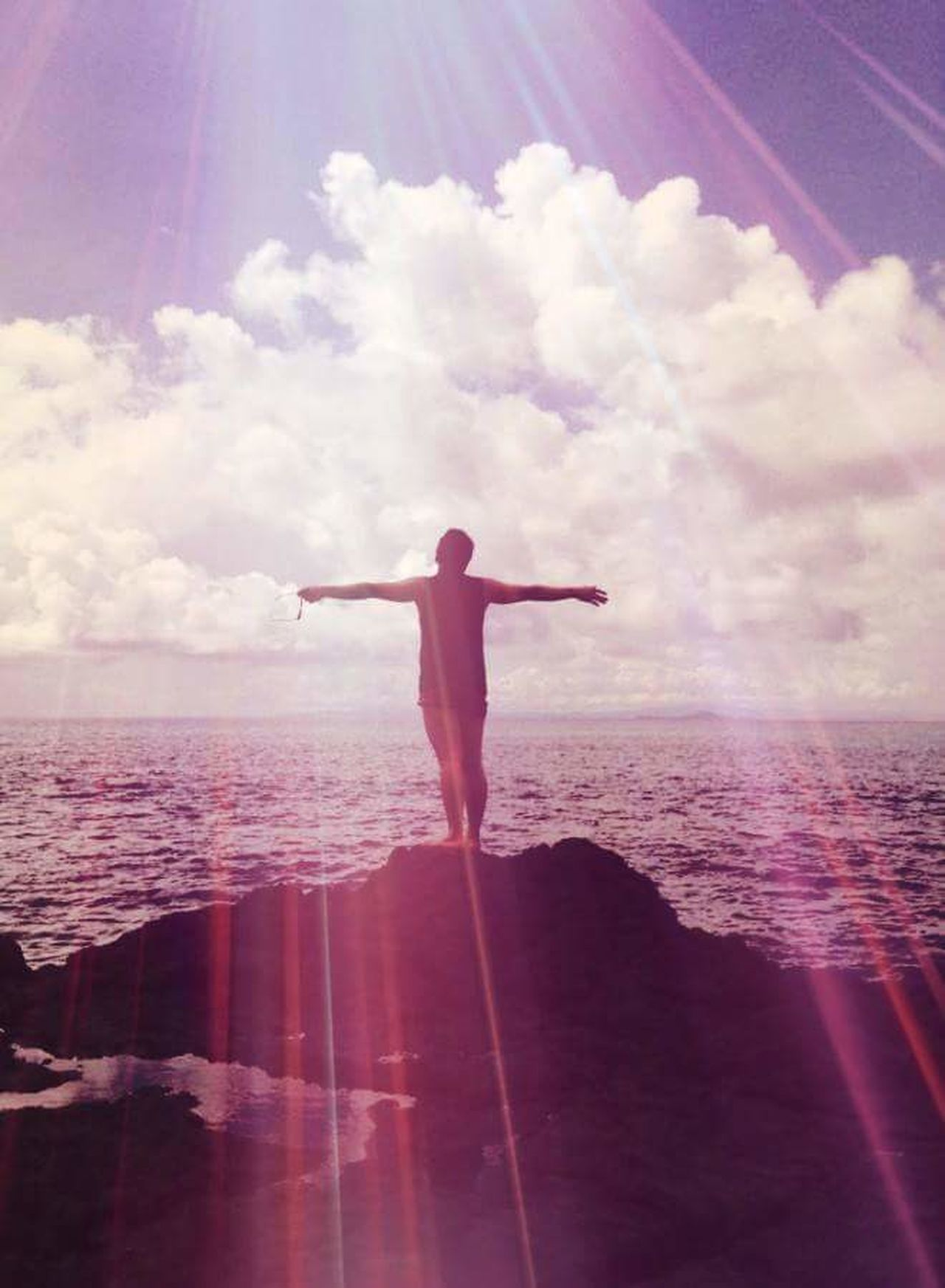Adults Only Vacations Inspiration Standing Only Women Freedom Cloud - Sky Sky One Person Spirituality Full Length Sea One Woman Only Carefree Outdoors Wellbeing Rear View Adult Tropical Climate Arms Outstretched