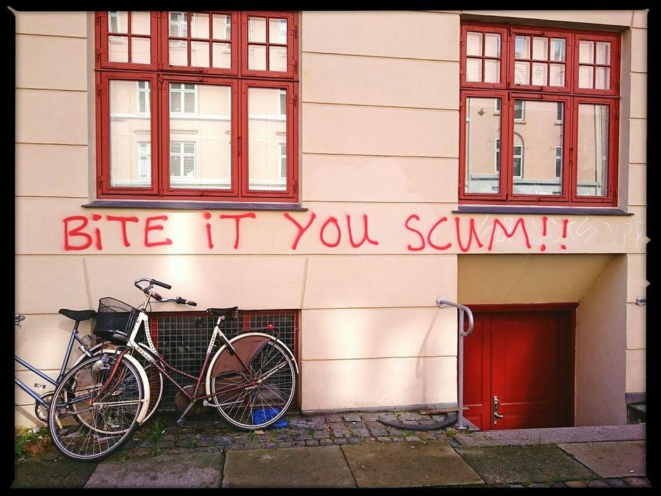 Aerosol Swearing Graffiti Scum Threatening Copenhagen Urban Landscape Wall Statement Words