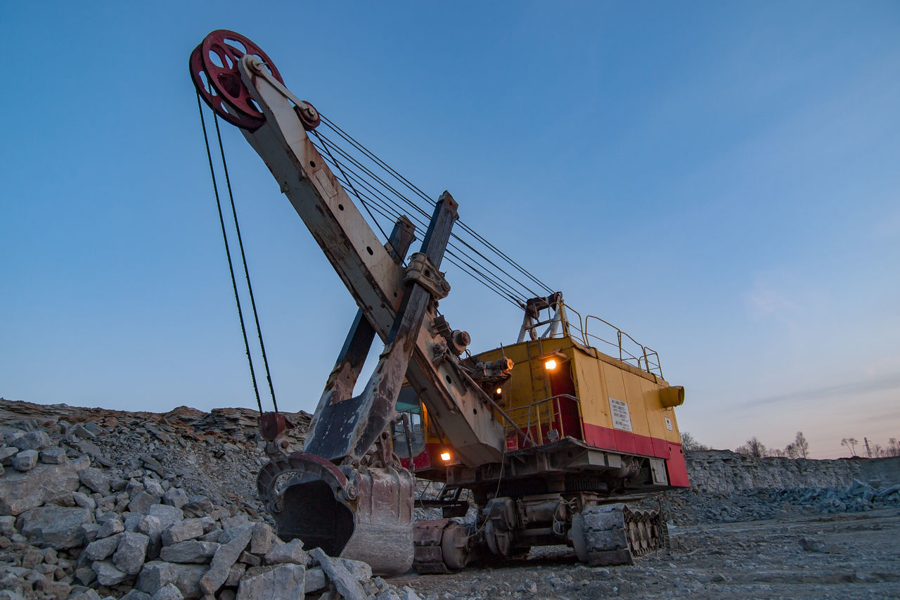 Building Material Excavator Industry Large Machinery Mechanical Shovel Mining Industry Mining Machinery No People Outdoors Rock