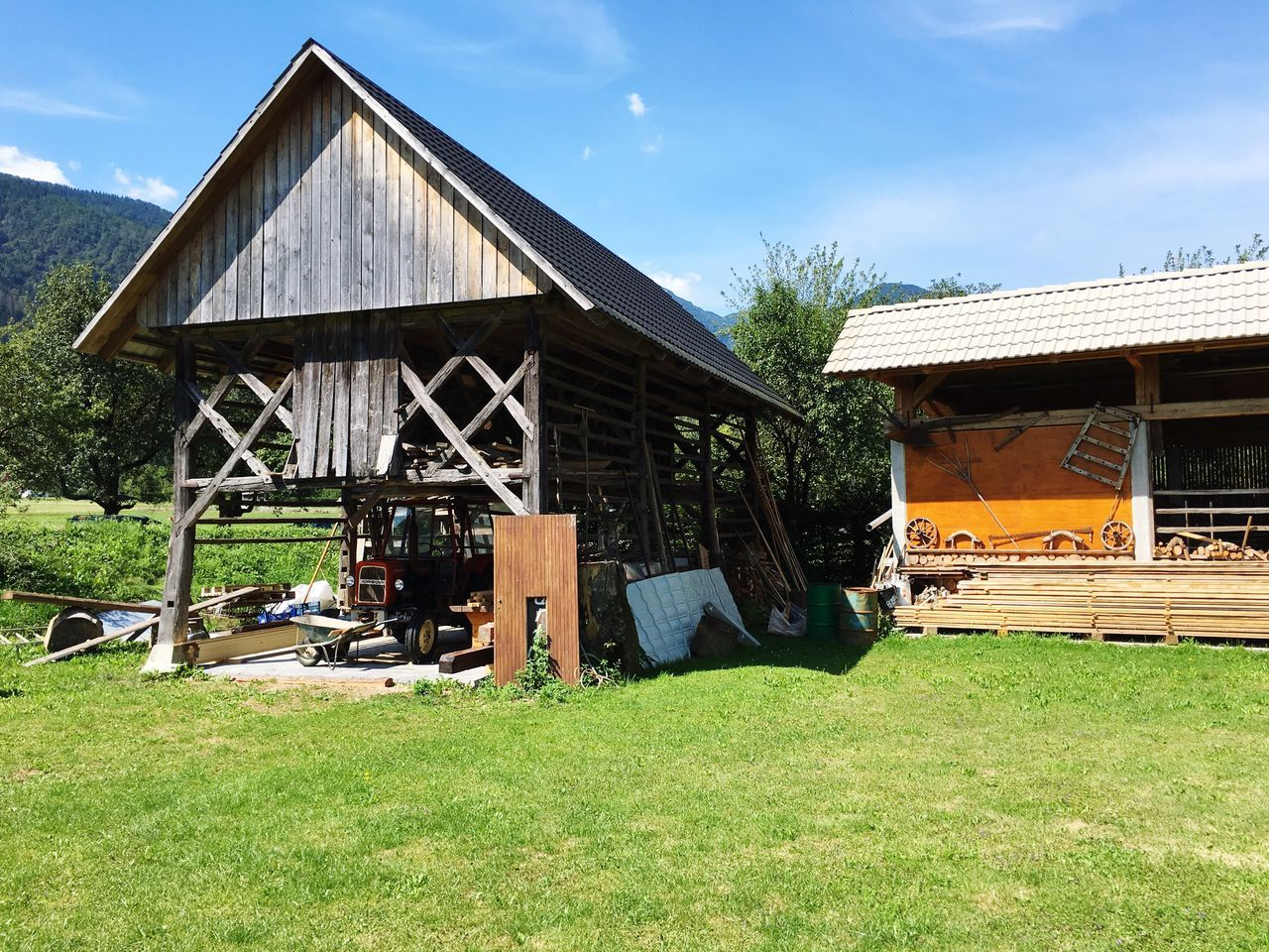 Green Grass Blue Sky Blue Sky Wood Store Wood Wooden Building Building Exterior Architecture Tools Mountains Rural Scene Idyllic Slovenia Alps Tractor Home Is Where The Art Is