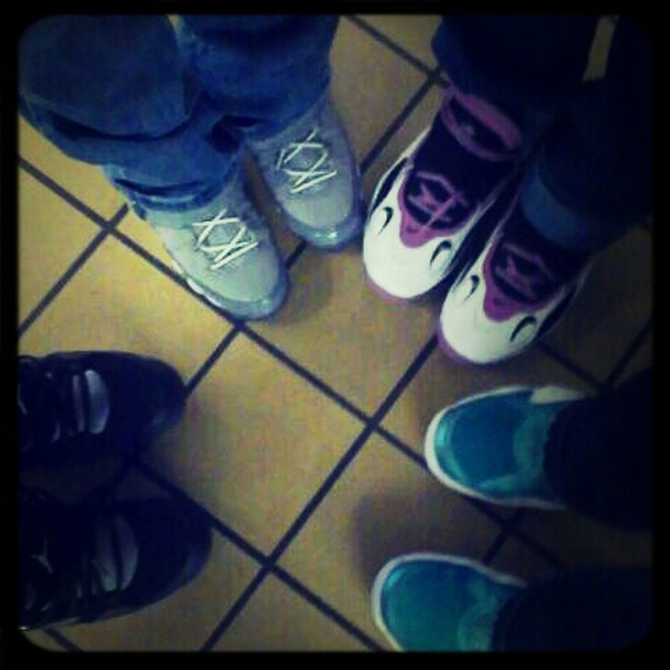 Us waiting in the lunch line for lunch but anyways are shoes is cold !!!!!;)