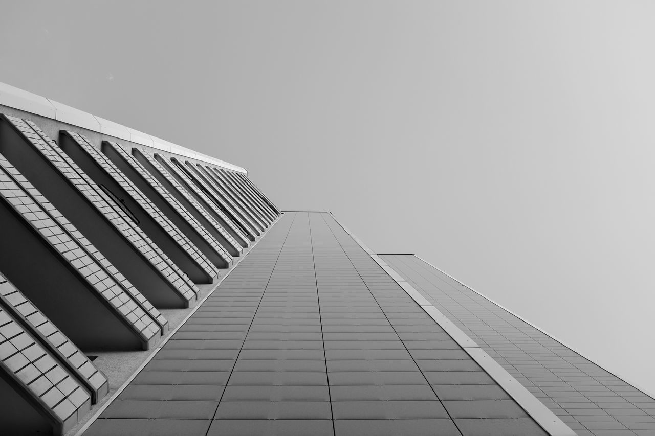 Architectural Feature Architecture Berlin Black And White Blackandwhite Built Structure Diminishing Perspective Directly Below Lookingup Low Angle View Modern Office Building Sky Tall - High