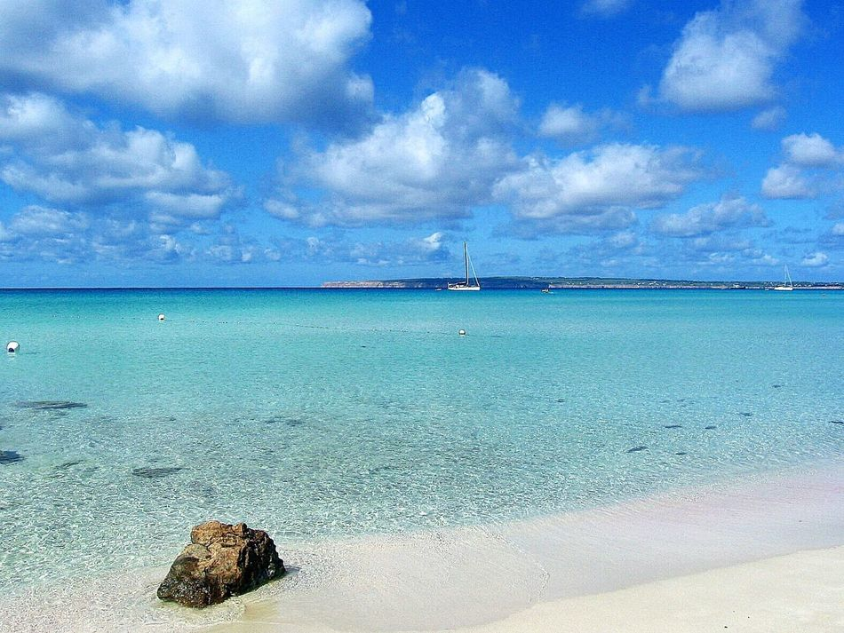 Sea Blue Beach Horizon Over Water Water Vacations Sand Travel Destinations Nature Cloud - Sky Outdoors Day Idyllic Beauty In Nature Sky Postcard Poster EyeEm Best ShotsNo People Formentera Island Formentera Landscape Seascapes Sealife EyeEm Gallery